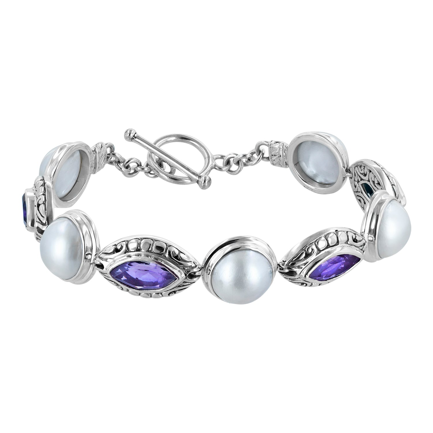 Marquis amethyst and round white mabe sterling silver toggle bracelet