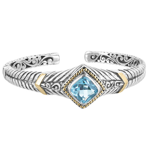 Silver & 18K Gold Accented Hinge Bracelet with Blue Topaz
