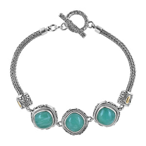 Bali Sterling Silver Tulang Naga Amazonite Station Toggle Bracelet with 18K Gold Accents