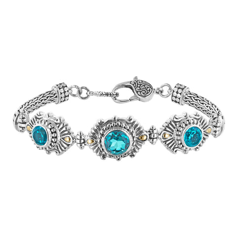 Bali Sterling Silver Paraiba Quartz Doublet Station Bracelet with Lobster Clasp and 18K Gold Accents