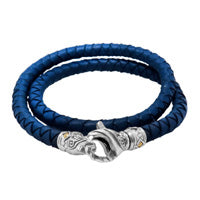 Bali Men's Woven Leather Double Wrap Bracelet with Sterling Silver Lobster Clasp and 18K Gold Accent
