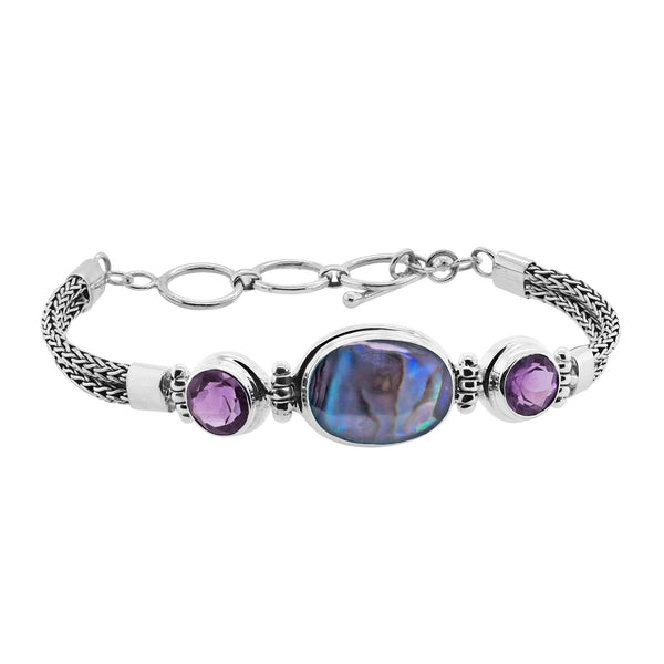 Abalone Amethyst Sterling Silver Station Toggle Bracelet