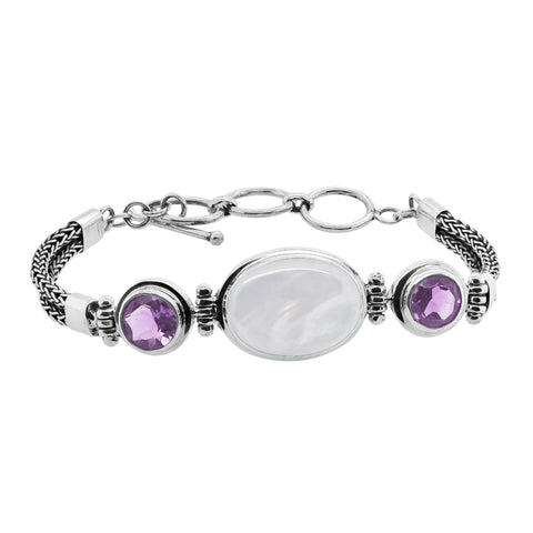 Mother of Pearl Amethyst Station Toggle Bracelet