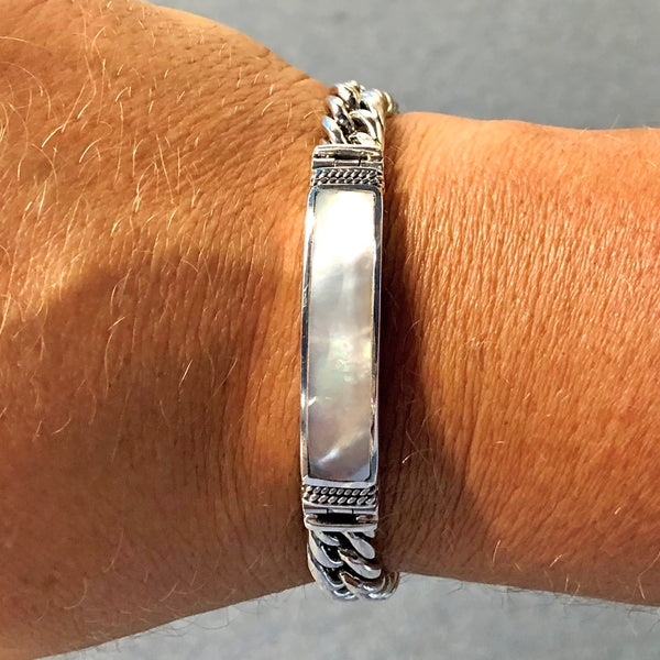 Bali Men's Mother of Pearl Inlay Sterling Silver Curb Link ID Bracelet