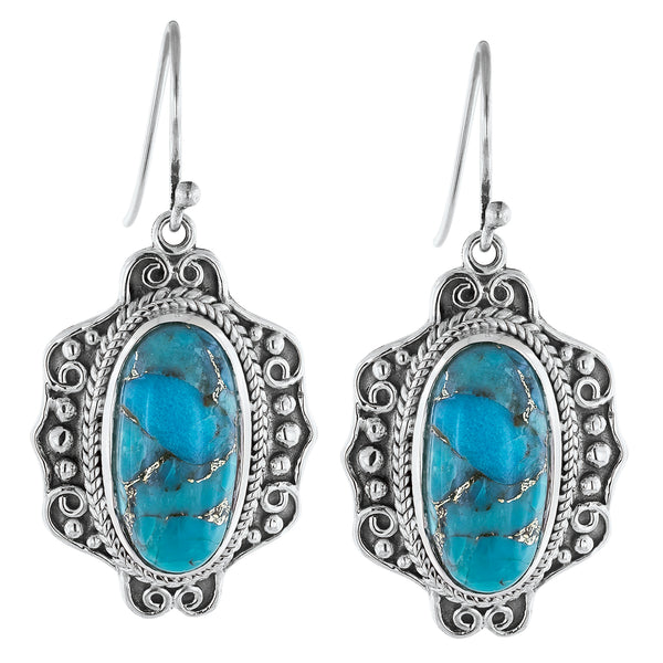 Bohemian Blue Mojave Turquoise Sterling Silver Earrings