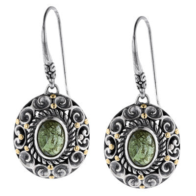 Green Tourmaline Scrollwork Earrings