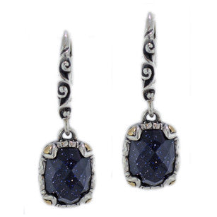 Blue Goldstone Leverback Earrings