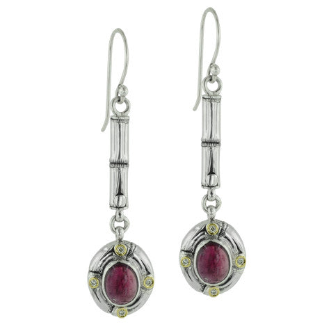 Pink Tourmaline and Diamond Bamboo Link Earrings