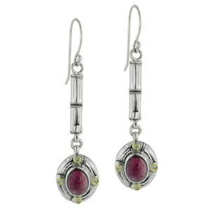 Pink Tourmaline Bamboo Silver Link Earrings