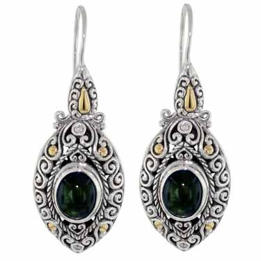 Scrollwork Deep Green Tourmaline and Diamond Earrings