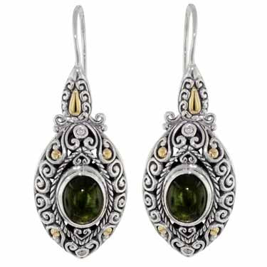 Scrollwork Forest Green Tourmaline and Diamond Earrings