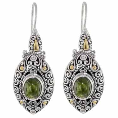 Scrollwork Lime Green Tourmaline and Diamond Earrings