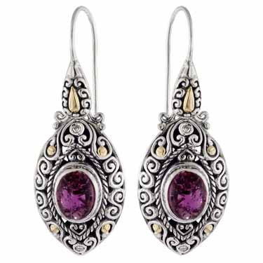 Scrollwork Deep Pink Tourmaline and Diamond Earrings