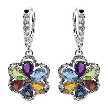 Mutli Colored Flower Gemstone Earrings Silver