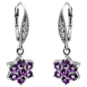 Rhodium Plated Silver Gemstone Flower Drop Earrings