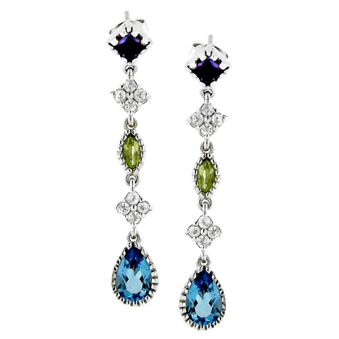 Blue, Green, Purple and White Gemstone Dangling Earrings