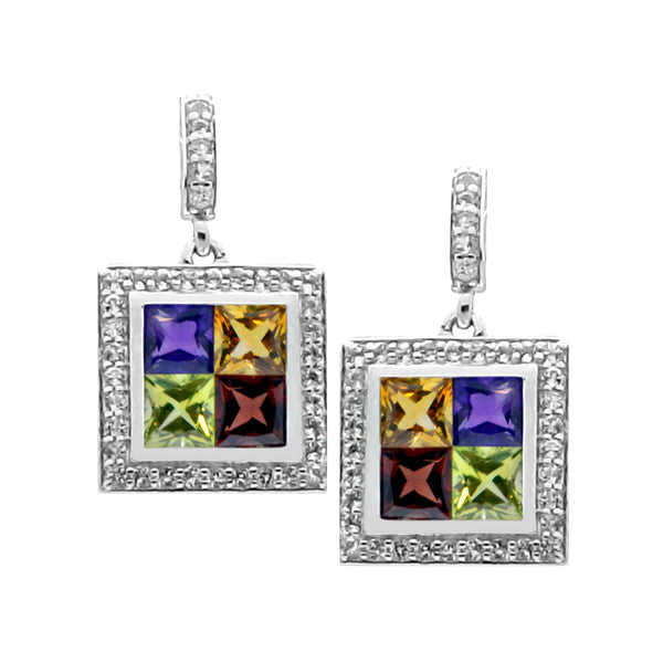Square Multi Color Purple, Yellow, Green, Red White Topaz SilverEarrings