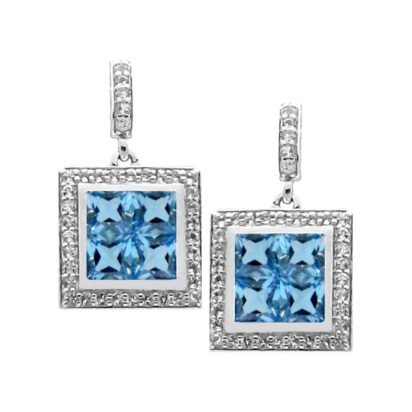 Square Swiss Blue Topaz White Topaz Silver Earrings