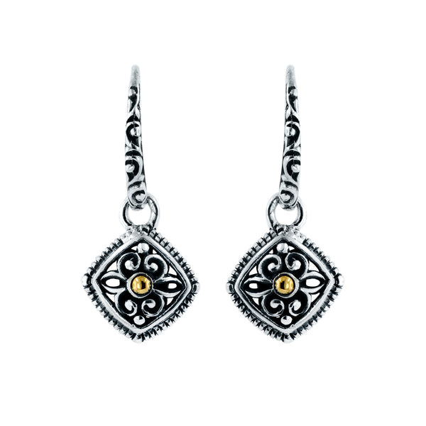 Ornate Cushion Shape Dangle Earrings