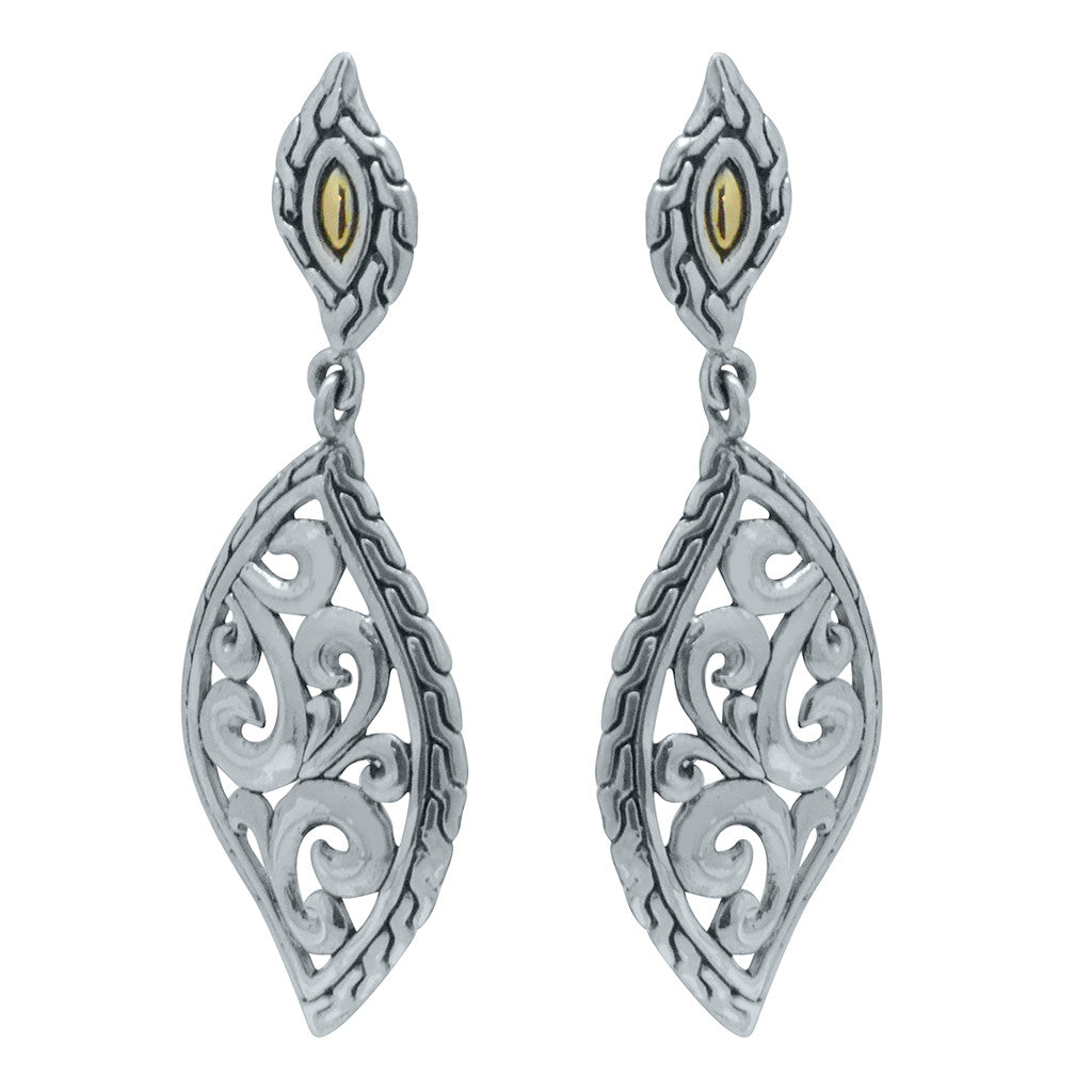 scrollwork peacock feather sterling silver and 18k gold earrings