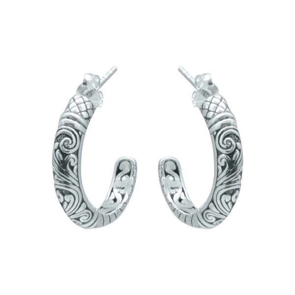 silver carved scrollwork half hoops