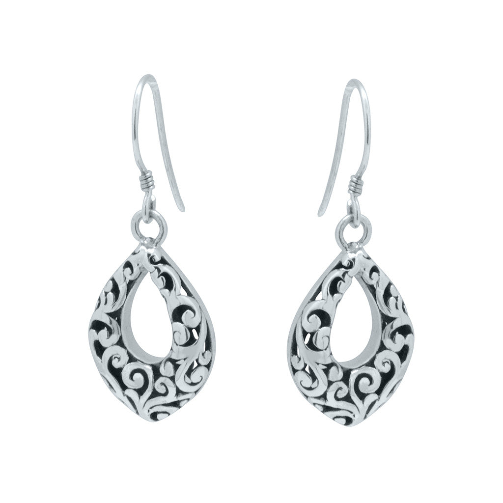Open Filigree Dangle Shield Earrings