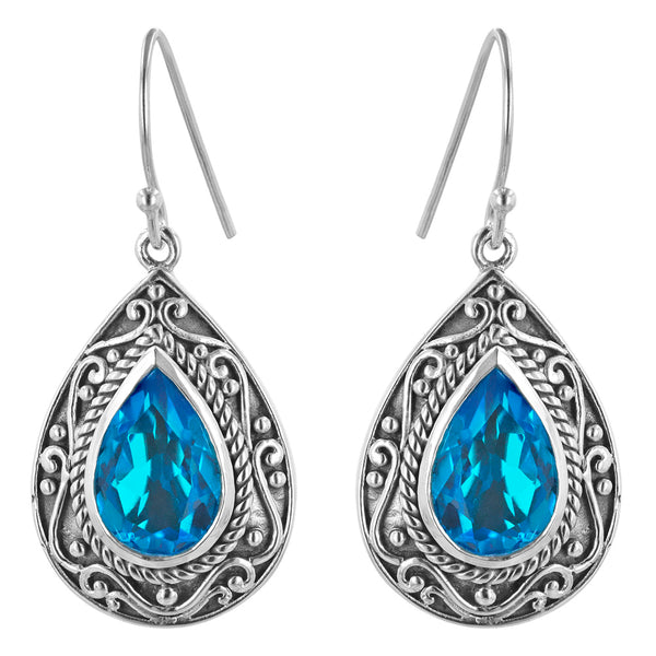 Paraiba blue Quartz Pear Shaped Scrollwork Earring