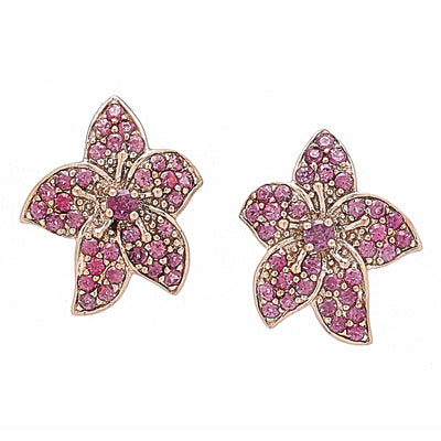 Rose gold flower post earrings with pink rhodolite