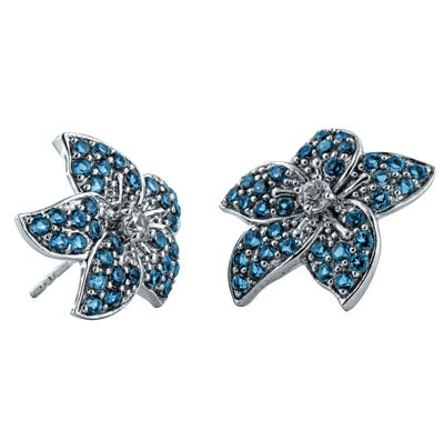 Flower Post Earrings in 10K White Gold with London Blue Topaz Pave and White Zircon Center