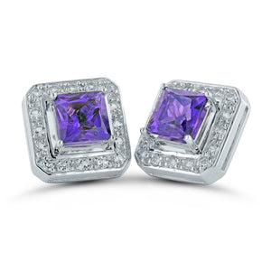 Amethyst Square Silver Stud Earrings with Removable White Topaz Frame