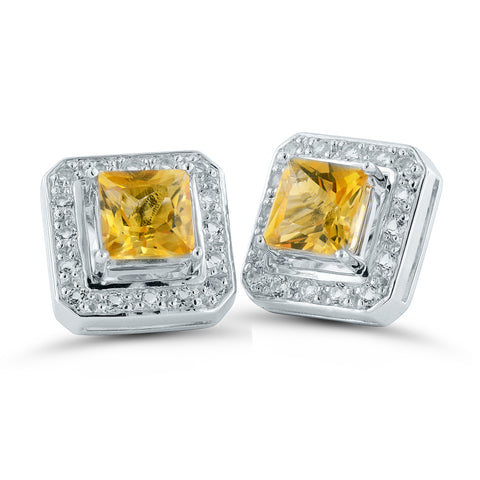 Citrine Square Silver Stud Earrings with Removable White Topaz Frame
