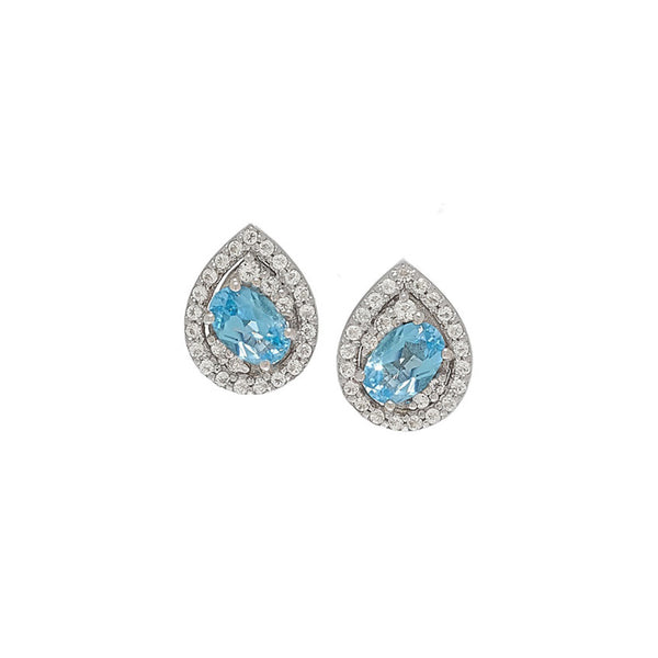Swiss Blue Topaz White Topaz Stud Earrings