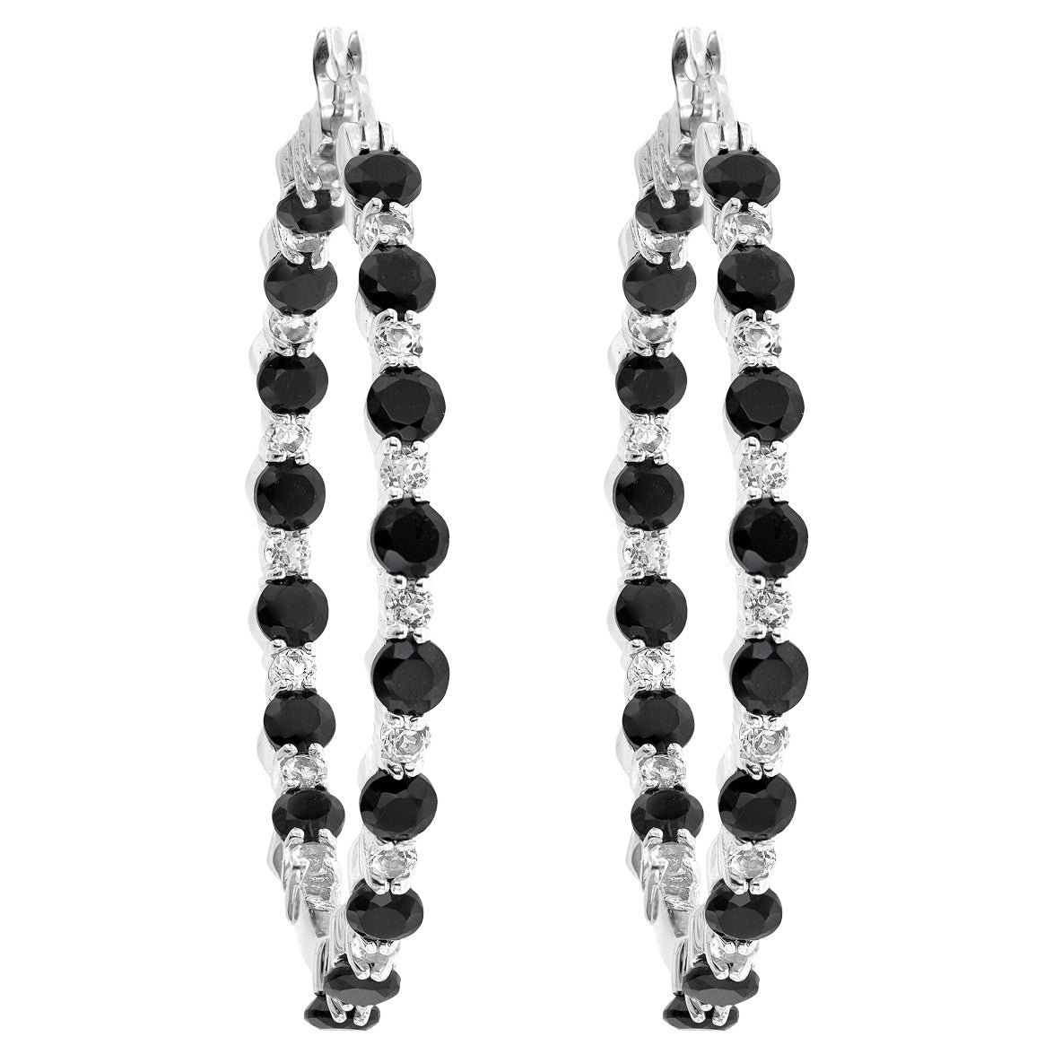 Onyx and White Topaz Hoop Earrings
