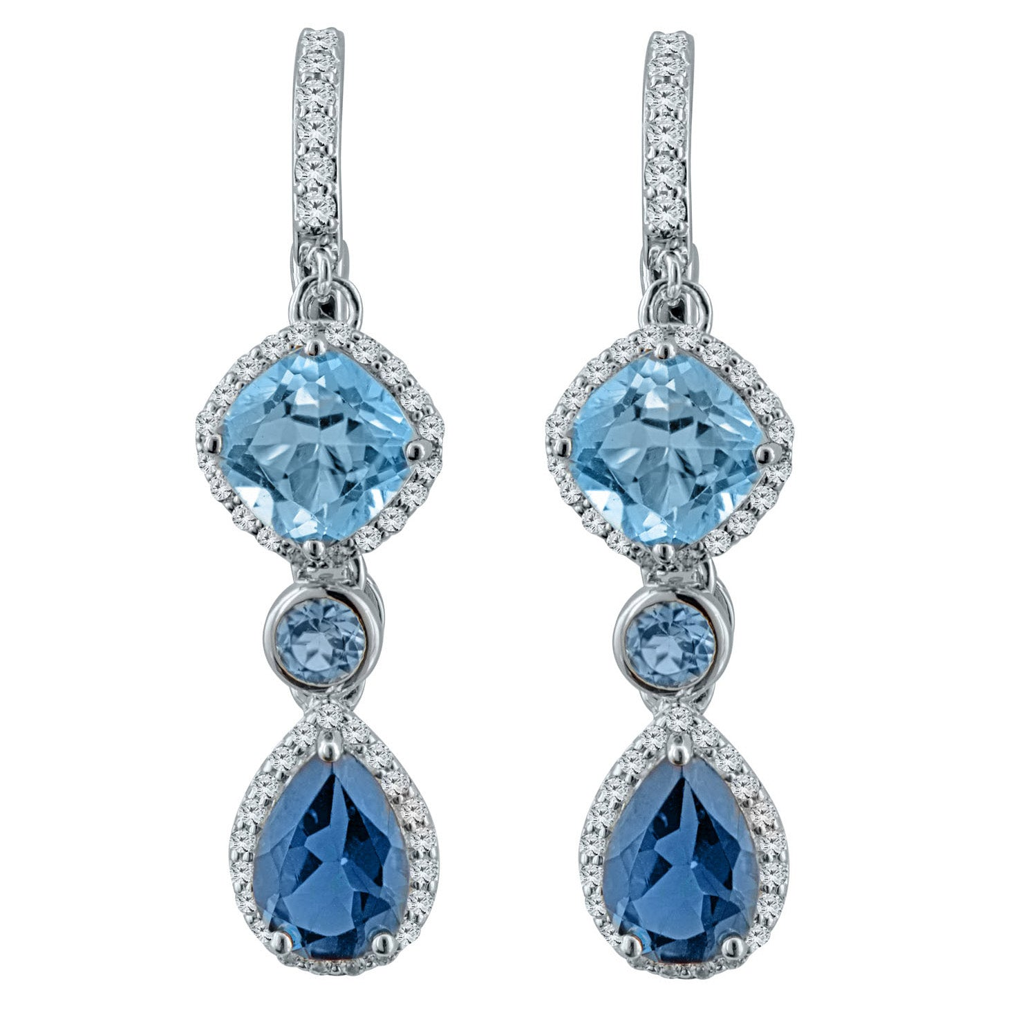 Shades of Blue T Sky Blue-Topaz, Swiss Blue-Topaz, London Blue-Topaz, White Topaz Silver Drop Earrings