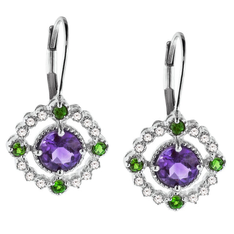 Amethyst and Chrome Diopside Gemstone Drop Earrings