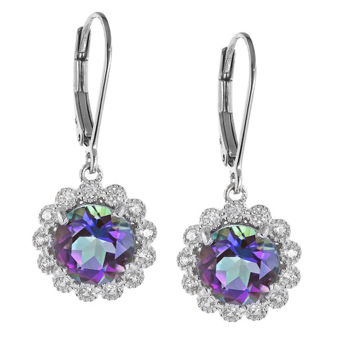 Round Drop Gemstone Earrings with White Zircon Halo