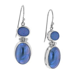 Sterling silver drop earrings with blue stones