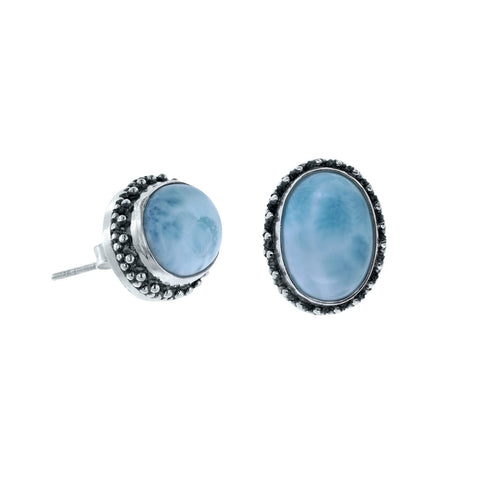 Tropical Waters Oval Larimar Stud Earrings