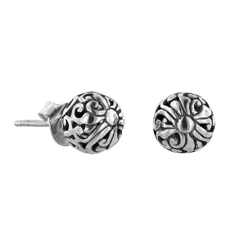Sterling silver scroll work stud earring