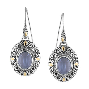 Sterling Silver Grey Moonstone Drop Earrings with Balinese Scroll and 18K Gold Accents