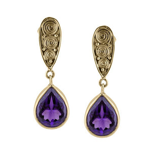 18K Gold Amethyst Drop Earrings