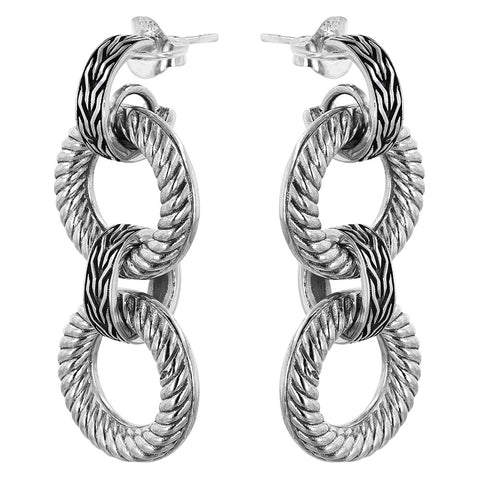 Cable & Tulang Naga Circle Link Earrings