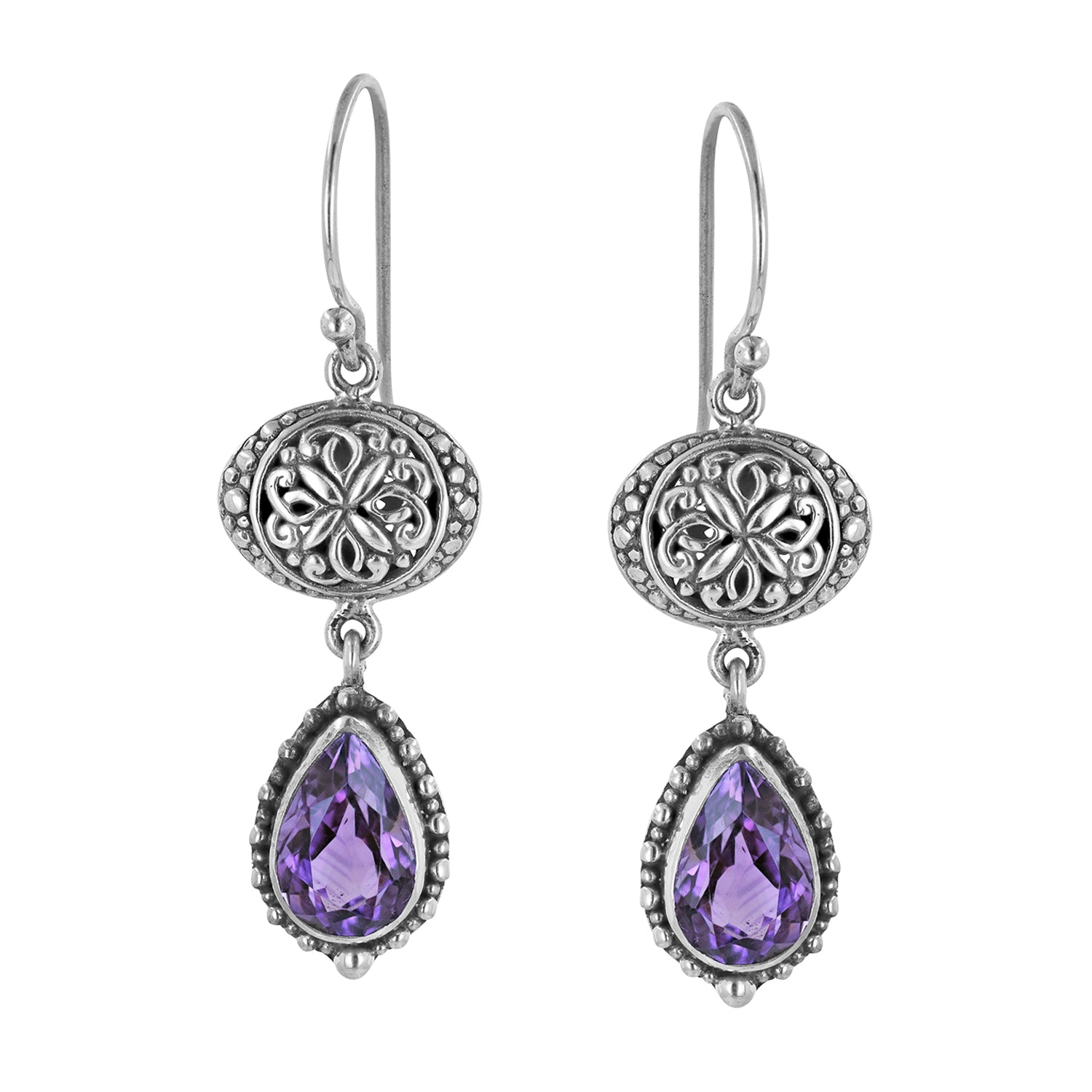 Sterling Silver Dangle Earrings with Bali Bead and Pear Shaped Amethyst