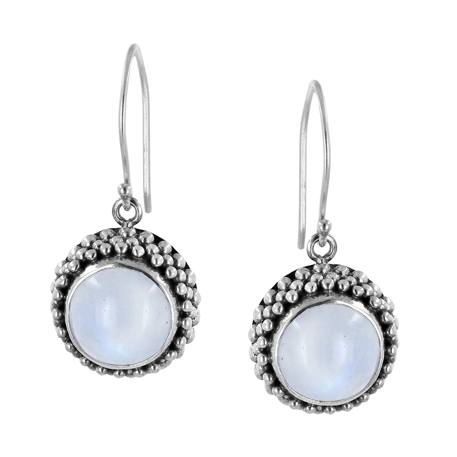 Sterling Silver Moonstone Earrings with Caviar Beads