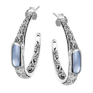 Bali Sterling Silver Mother of Pearl Scallop Pattern Hoop Earrings