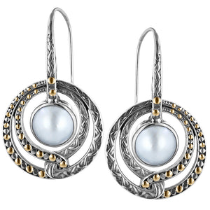 Sterling Silver Circle Drop Earrings with White Mabe & 18K Gold Accents