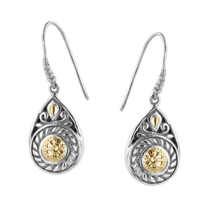 Bali Sterling Silver Cable and Scrollwork Drop Earrings with Hammered 18K Gold Accents
