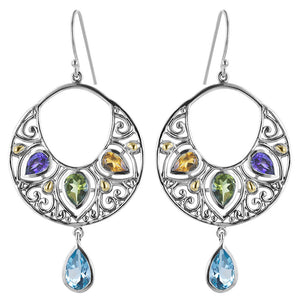 Silver Hoop Drop Earrings Multi Gemstone: Amethyst, Citrine, Peridot & Blue Topaz