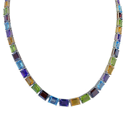 Multi Color Emerald Cut Blue Red Yellow Purple Gemstone Necklace