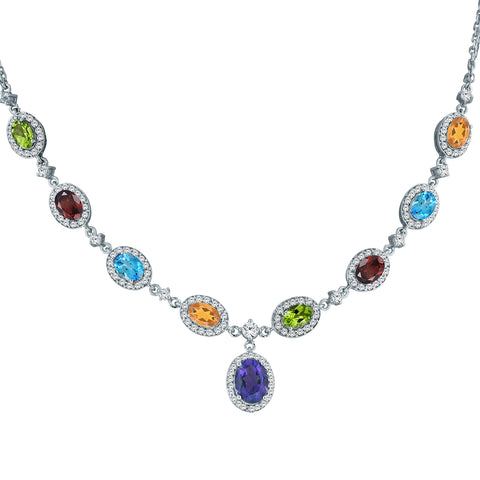 9 Multi Gemstone Stations and White Topaz Accents Necklace
